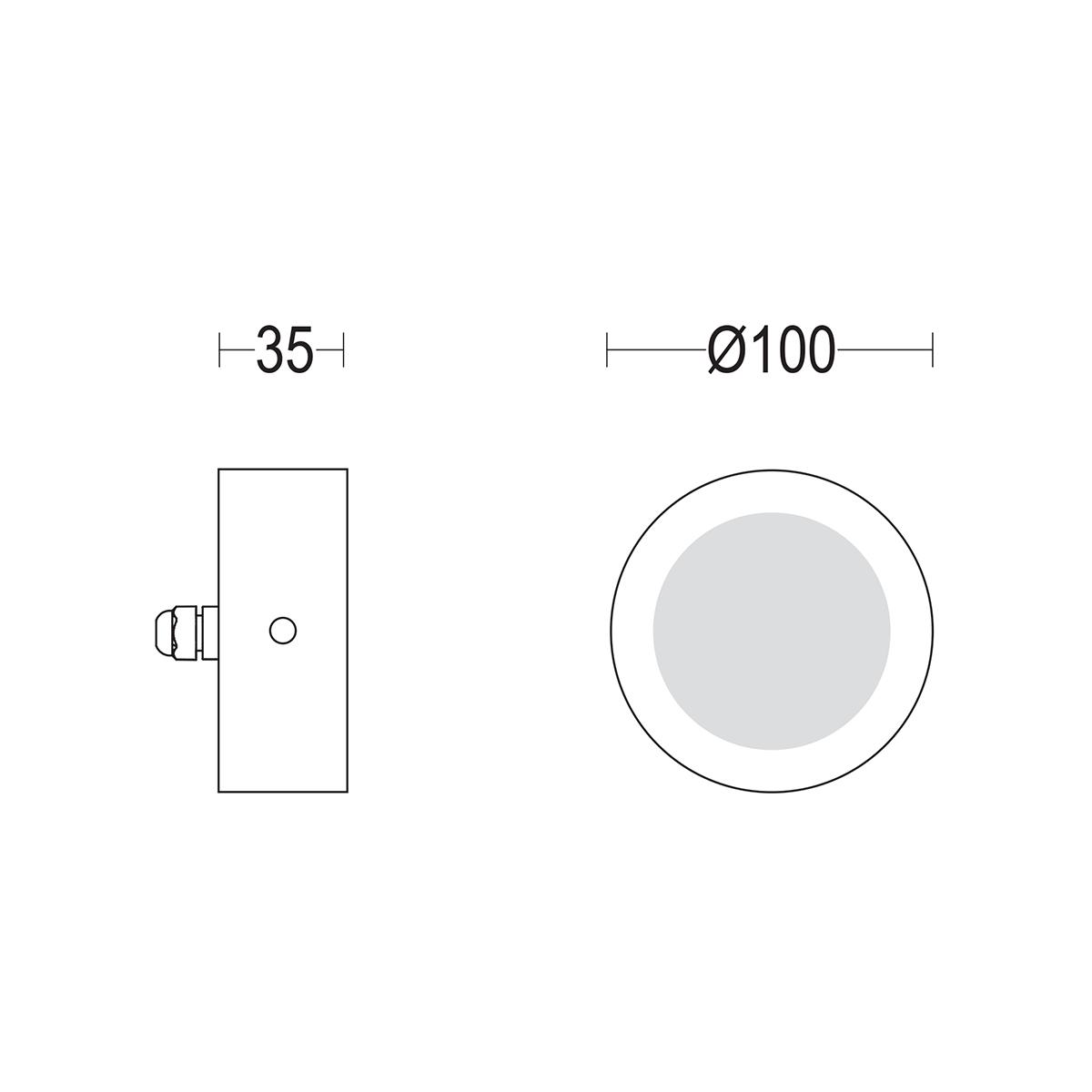 чертеж Microspia flat 100 Ghidini уличный светильник GH1385.CAXO300EN