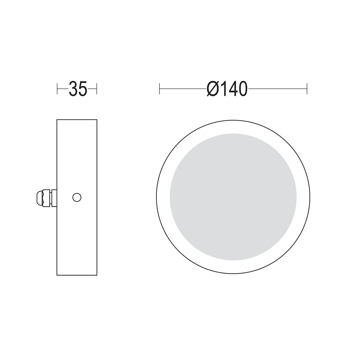 чертеж Midispia flat 140 Ghidini уличный светильник GH1386.FAXO300EN