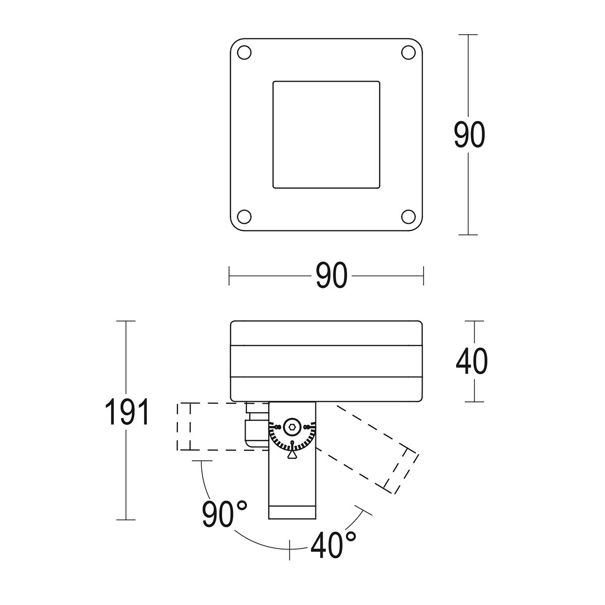 чертеж Microfaro flat 90 Ghidini уличный светильник GH1396.LVFT300EN