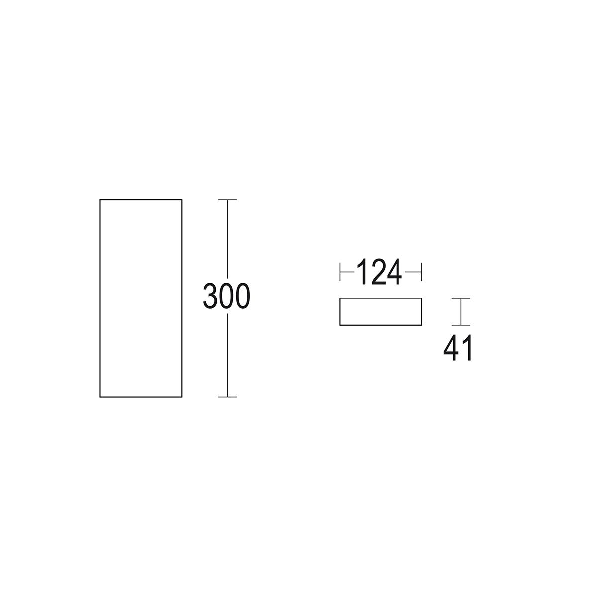чертеж Rettangolo 300 Ghidini уличный светильник GH1421.BGXO300EN
