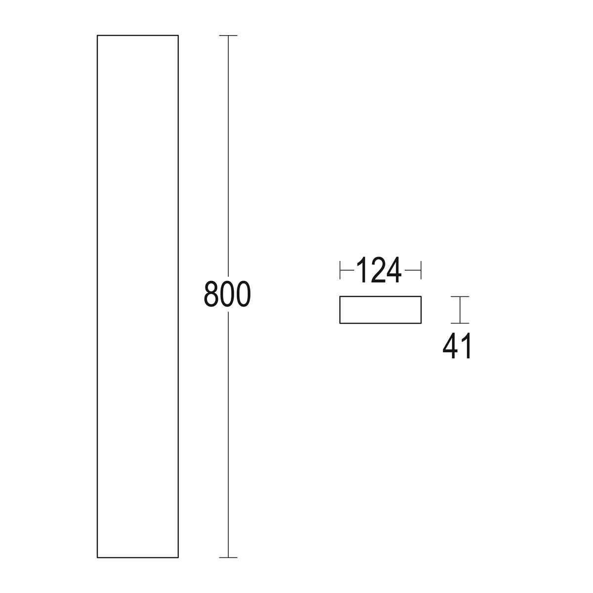 чертеж Rettangolo 800 Ghidini уличный светильник GH1423.CAXO300EN