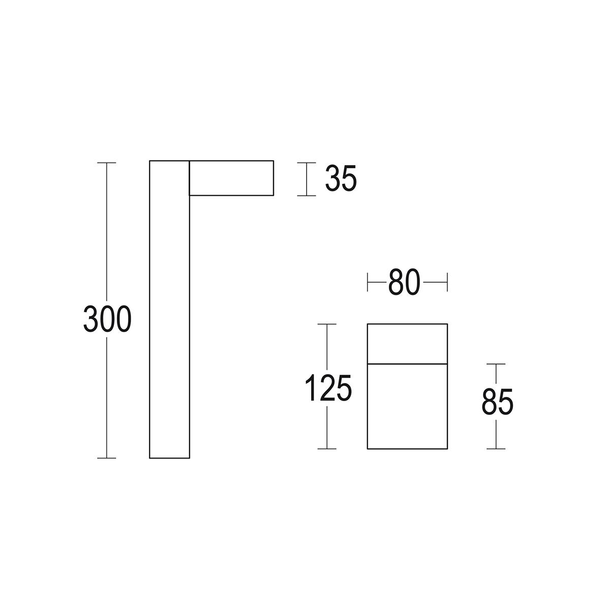чертеж Compatto bollard 300 Ghidini уличный светильник GH1426.CAFT300EN