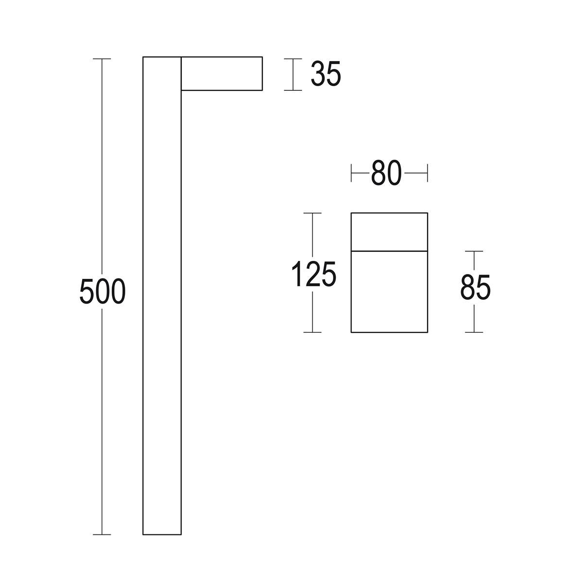 чертеж Compatto bollard 500 Ghidini уличный светильник GH1427.CAFT300EN