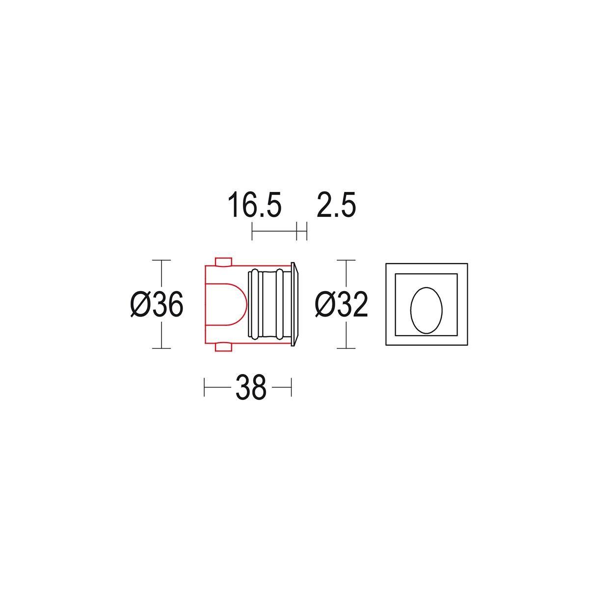 чертеж Microsegno AS 32 Ghidini уличный светильник GH1439.BAXO300EC