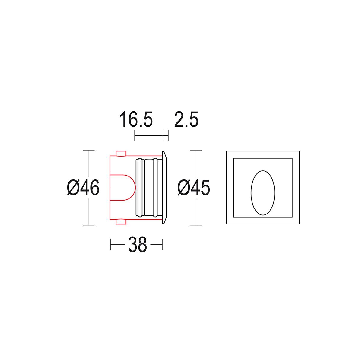 чертеж Segno AS 45 Ghidini уличный светильник GH1440.BAXO300EC