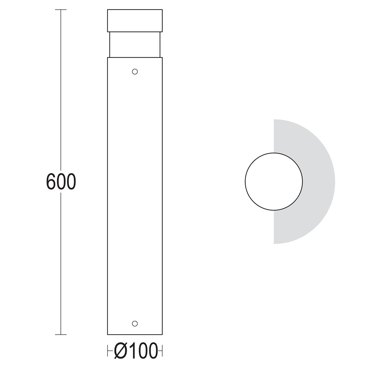 чертеж Tondo 600 Ghidini уличный светильник GH1445.LVXT300EN