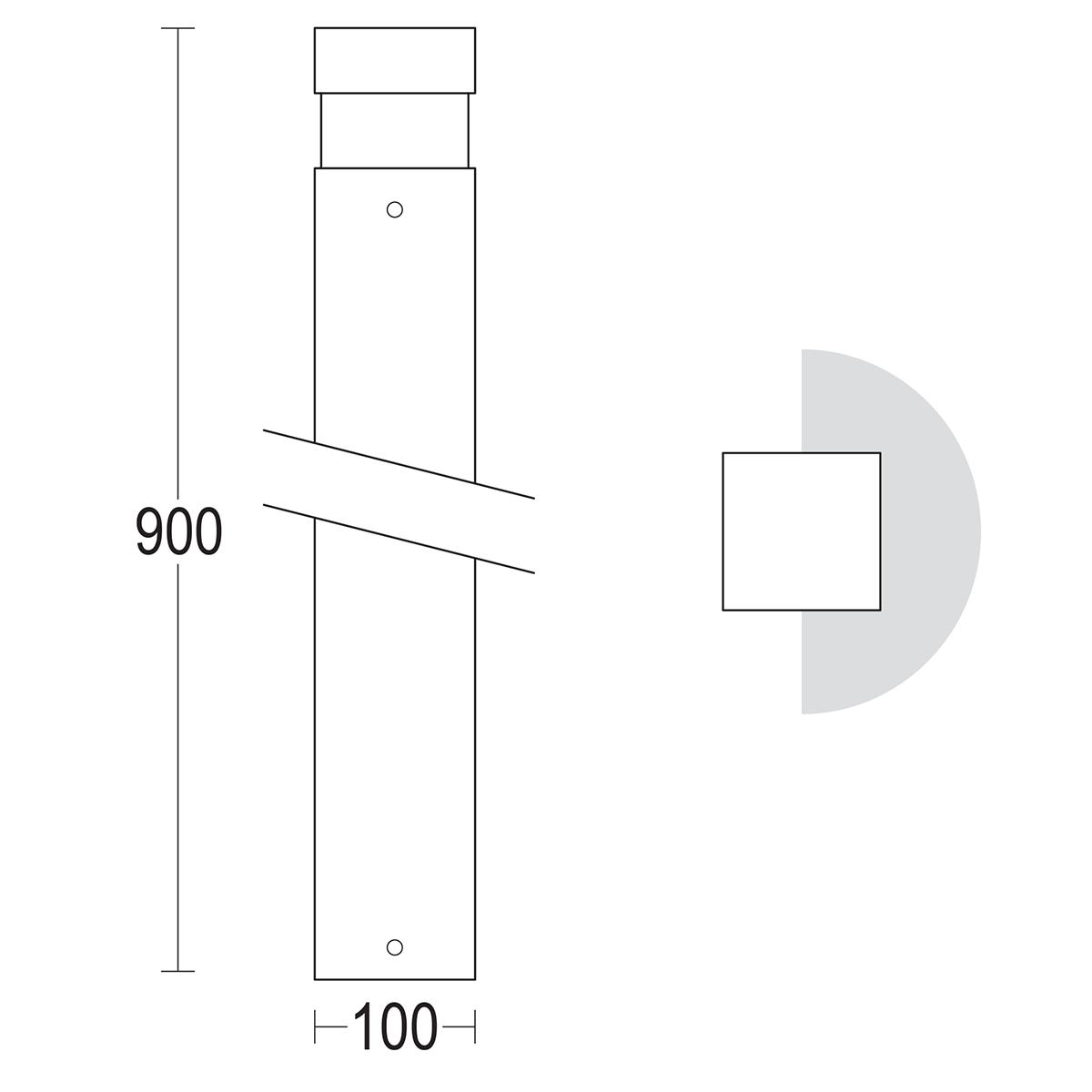 чертеж Quadro 900 Ghidini уличный светильник GH1450.LVXT300EN