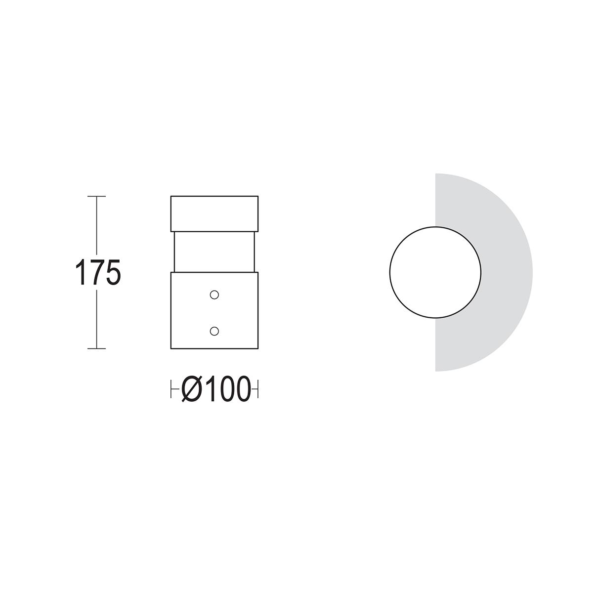 чертеж Tondo 175 Ghidini уличный светильник GH1456.LVXT300EN