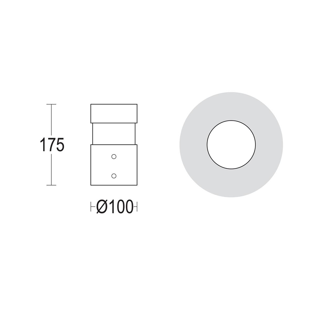 чертеж Tondo 175 Ghidini уличный светильник GH1457.LVXT300EN