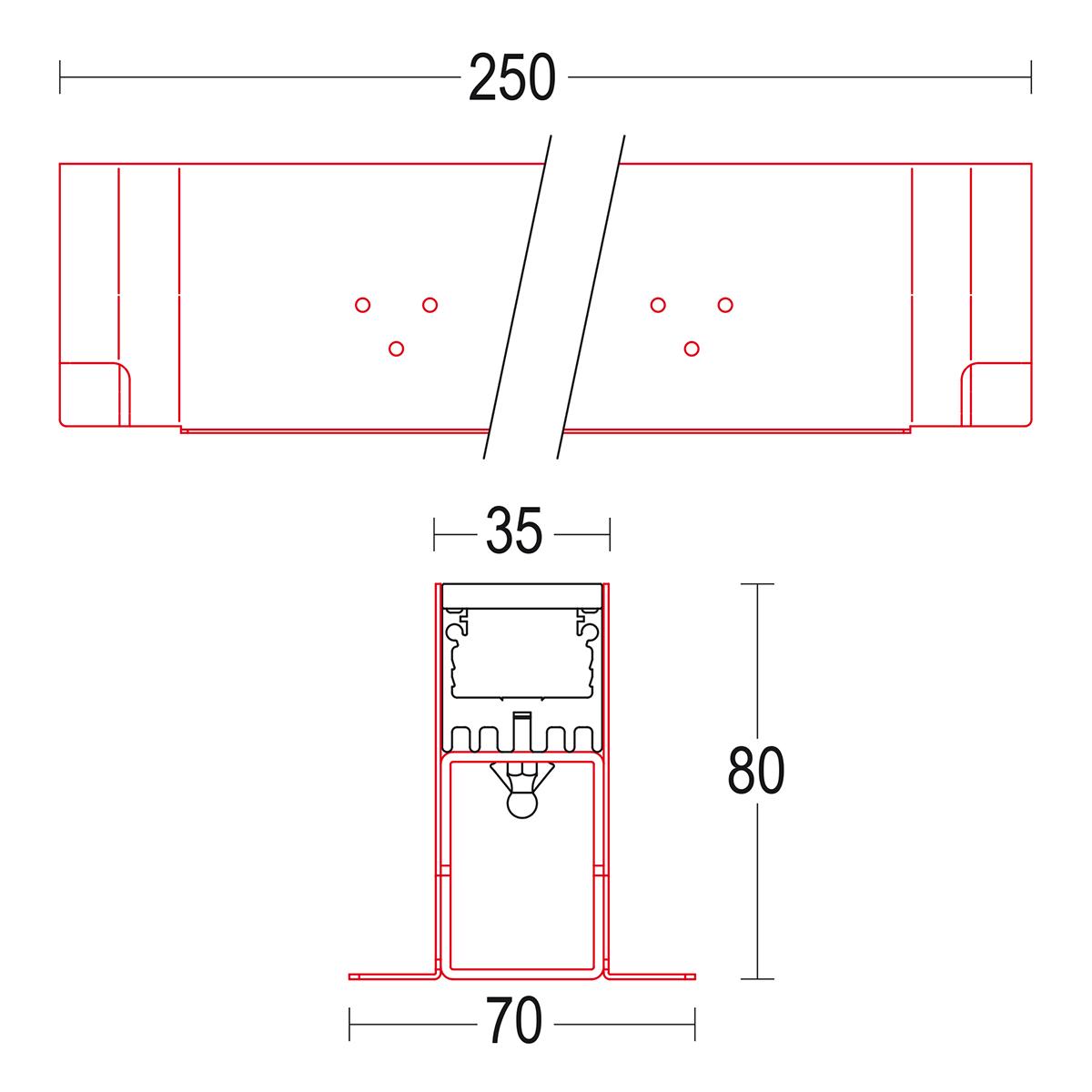 чертеж Traccia 250 Ghidini уличный светильник GH1530.BGXA300EL