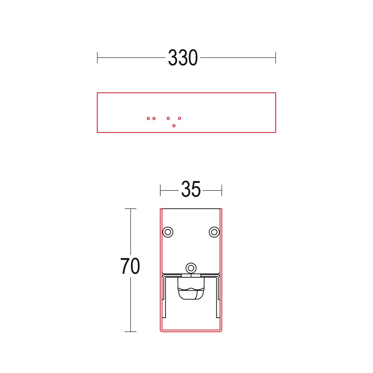 чертеж Tratto 300 Ghidini уличный светильник GH1538.BGXO300EL