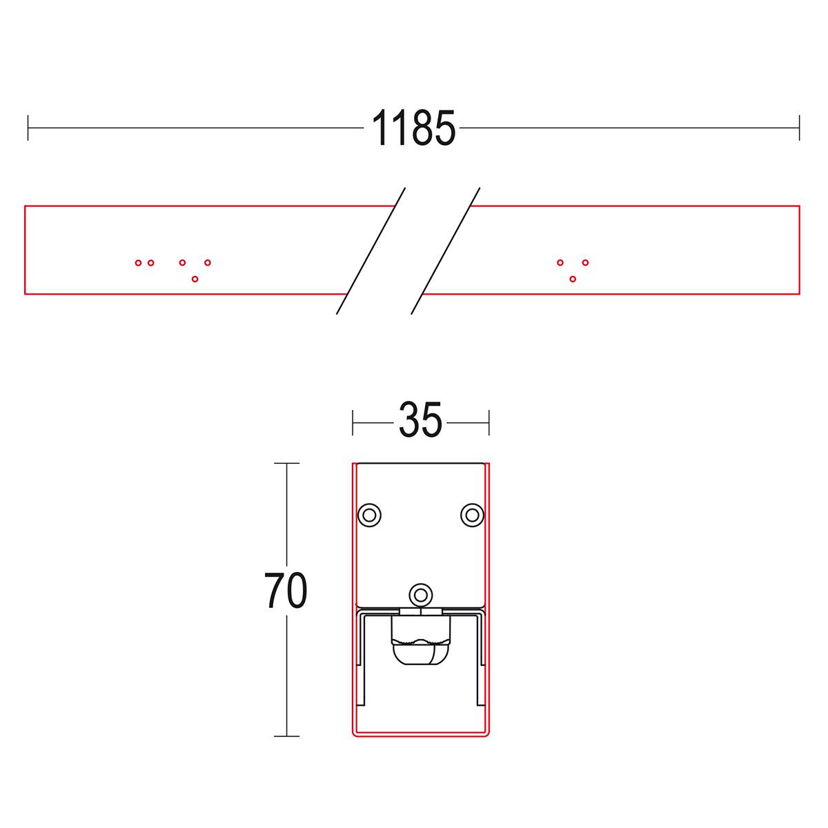 чертеж Tratto 1200 Ghidini уличный светильник GH1541.ENFT300EL