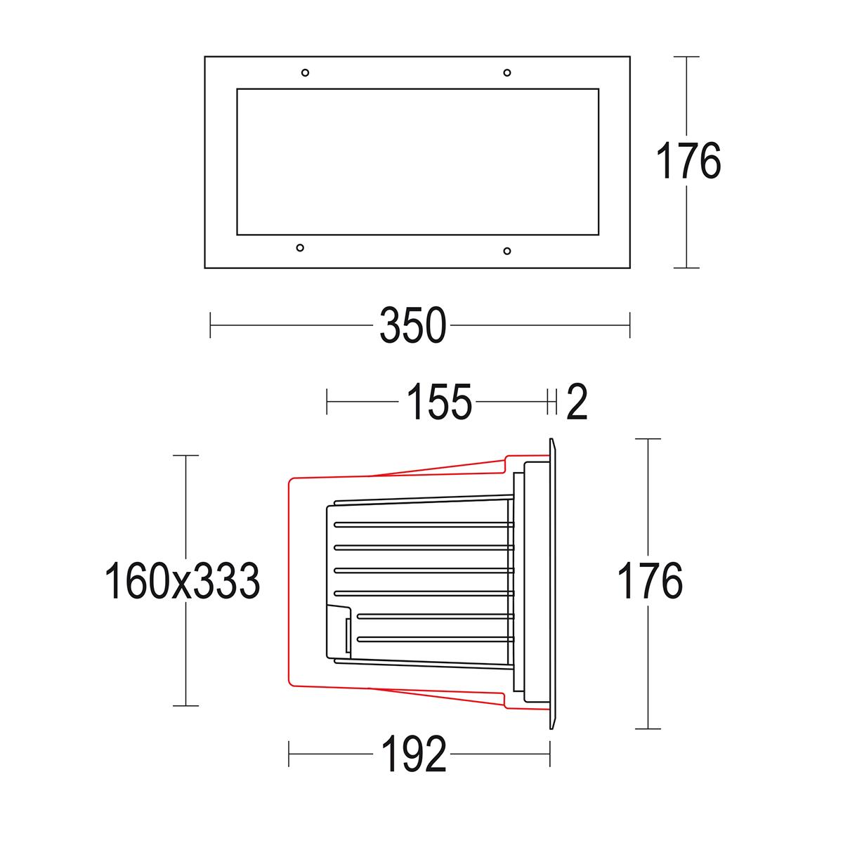 чертеж Maximargin wall 350x175 Ghidini уличный светильник GH5629.BRXA300EN