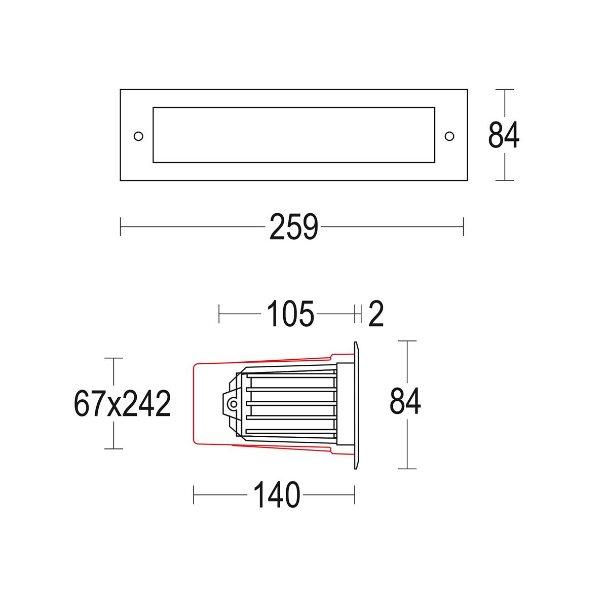 чертеж Bivio 1 Lens 185 Ghidini уличный светильник GH1340.AHNT300EX