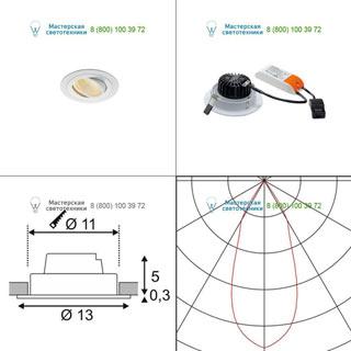 114231 SLV by Marbel NEW TRIA XL ROUND SET светильник с COB LED 13ВТ (16Вт), 3000К, 1120lm, 38°, с блоком питания, белый