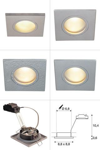 1001164 SLV by Marbel DOLIX OUT SQUARE MR16 светильник встраиваемый IP65 12В для лампы MR16 50Вт макс., cеребр.(ex 111128)
