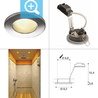 1001166 SLV by Marbel DOLIX OUT ROUND GU10 светильник встраиваемый IP65 для лампы GU10 50Вт макс., хром (ex 111022)