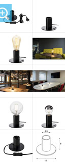 1001676 SLV by Marbel FITU TL светильник настольный для лампы E27 10Вт макс., черный