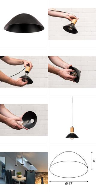 1001958 SLV by Marbel FITU 17, абажур на лампу, диам. 17 см, черный