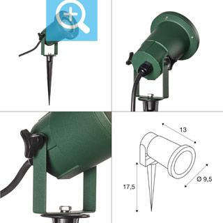 1001965 SLV by Marbel NAUTILUS 15 SPIKE светильник IP65 для лампы LED GU10 11Вт макс., кабель 1.5м с вилкой, зеленый