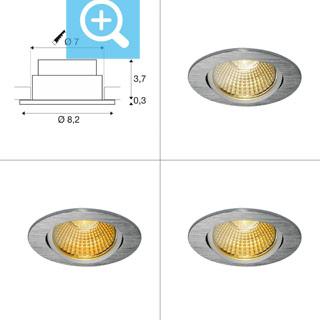 1001990 SLV by Marbel NEW TRIA 68 ROUND CS/LS DtW светильник встр. 7.2Вт с LED 1800-3000К, 440лм, 38°, CRI>90, алюминий