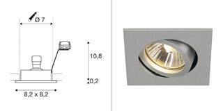 1001996 SLV by Marbel NEW TRIA 68 SQUARE GU10 CS/LS светильник встраиваемый для лампы GU10 50Вт макс., матирован. алюминий