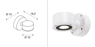 1002017 SLV by Marbel SITRA WALL LED светильник настенный IP44 9Вт с LED 3000К, 450лм, 55°, белый