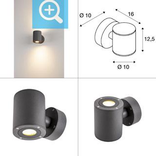 1002018 SLV by Marbel SITRA WALL UP-DOWN LED светильник настенный IP44 17Вт с LED 3000К, 2х 488лм, 2х 55°, антрацит