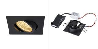 1003062 SLV by Marbel NEW TRIA 68 SQUARE CS светильник встраиваемый 5.3Вт с БП и LED 2700К, 300лм, 38°, черный