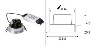 1003067 SLV by Marbel NEW TRIA 68 ROUND CS светильник встраиваемый 12Вт с БП и LED 2700К, 800лм, 38°, алюминий