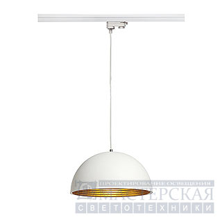 FORCHINI M pendant lamp, 40cm, round, white/gold, E27, with white 3-phase adaptor