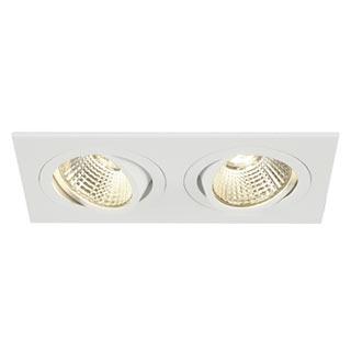 113891 NEW TRIA II LED DL SQUARE Set, mattweiss, 2x6W, 38°, 2700K, inkl. Treiber, Clipfed., SLV